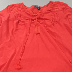 Lucky Brand red top with tassel tie